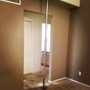 If you are lucky your tenants will leave you a beauty like this. I will admit to being surprised they left their stripper pole behind.