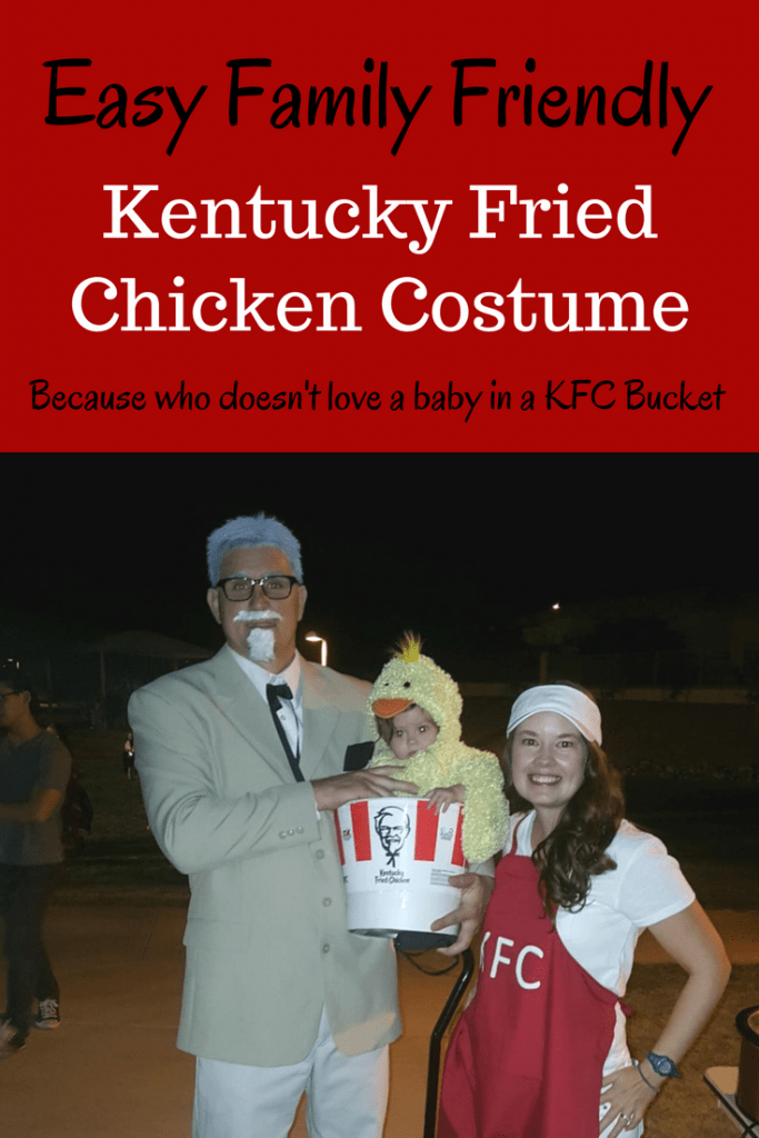 A baby in a chicken costume in a KFC bucket will always win halloween contests! This easy KFC costume was simple and easy to make. Kentucky Fried Chicken Halloween costumer; Baby Chicken Halloween Costume; Colonial Saunders Halloween Costume