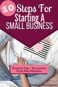 Picture of someones legs with the text saying 10 Steps for starting a small business