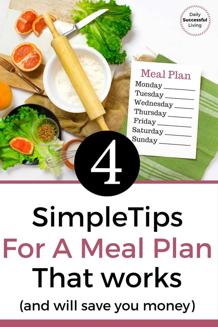Trying to save money at the grocery store. Meal Planning is the key to staying on a budget and saving money on food. These 4 simple tips will help you succeed at meal planning. | Meal Planning Guide | Money Saving Tips | Stay on Budget at the Grocery Store | Frugal Living Tips | Meal Planning for beginners | Weekly Meal Planning | #mealplanning #Moneysavingtips #Foodbudget