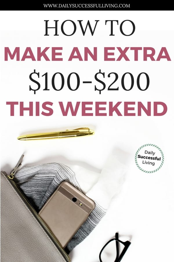 Simple ways to earn extra money this weekend when your payroll check isnt going to make it to the end of the month. Easy side hustles that anyone can do to earn a little bit of extra money over the weekend. | Fast ways to earn a little bit of extra money. | Weekend side-hustles for cash | Simple tips for earning extra money now. | Learn how to earn more money.